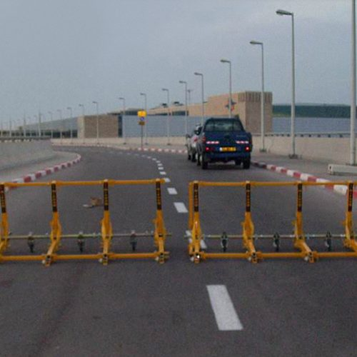 The vehicle barrier securing the road in the airport