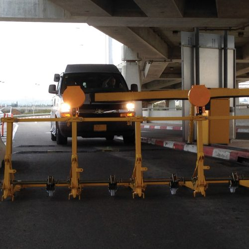 The vehicle barrier blocking the road inside of an airport