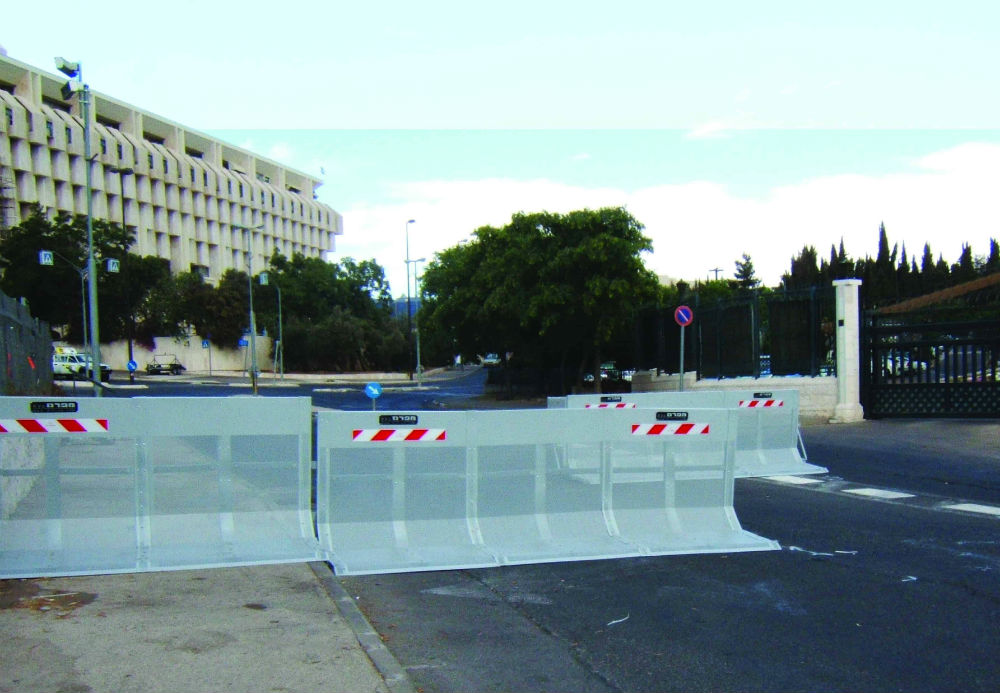 Several units of Carmen barriers protecting a governmental building