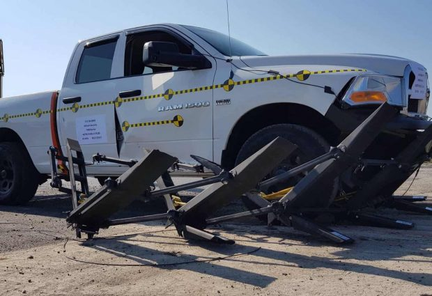 a Pickup truck came to full stop after hitting the FMB
