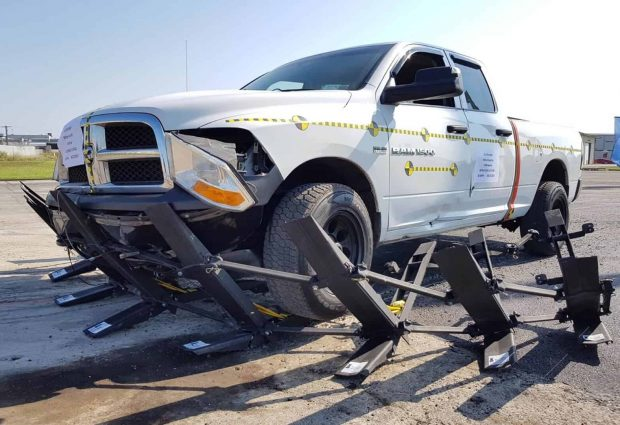 FMB stopping a pickup truck during testing pahse