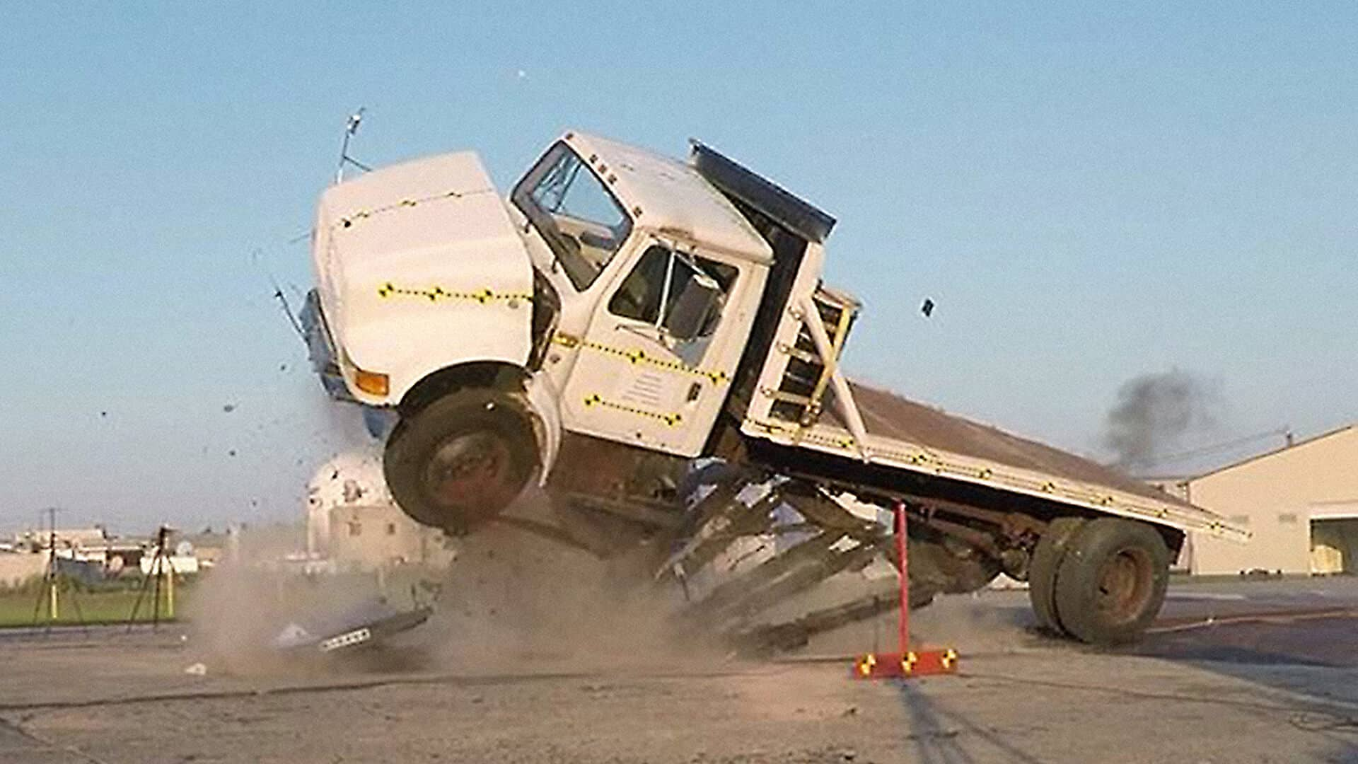 Pyramid barrier stops the truck