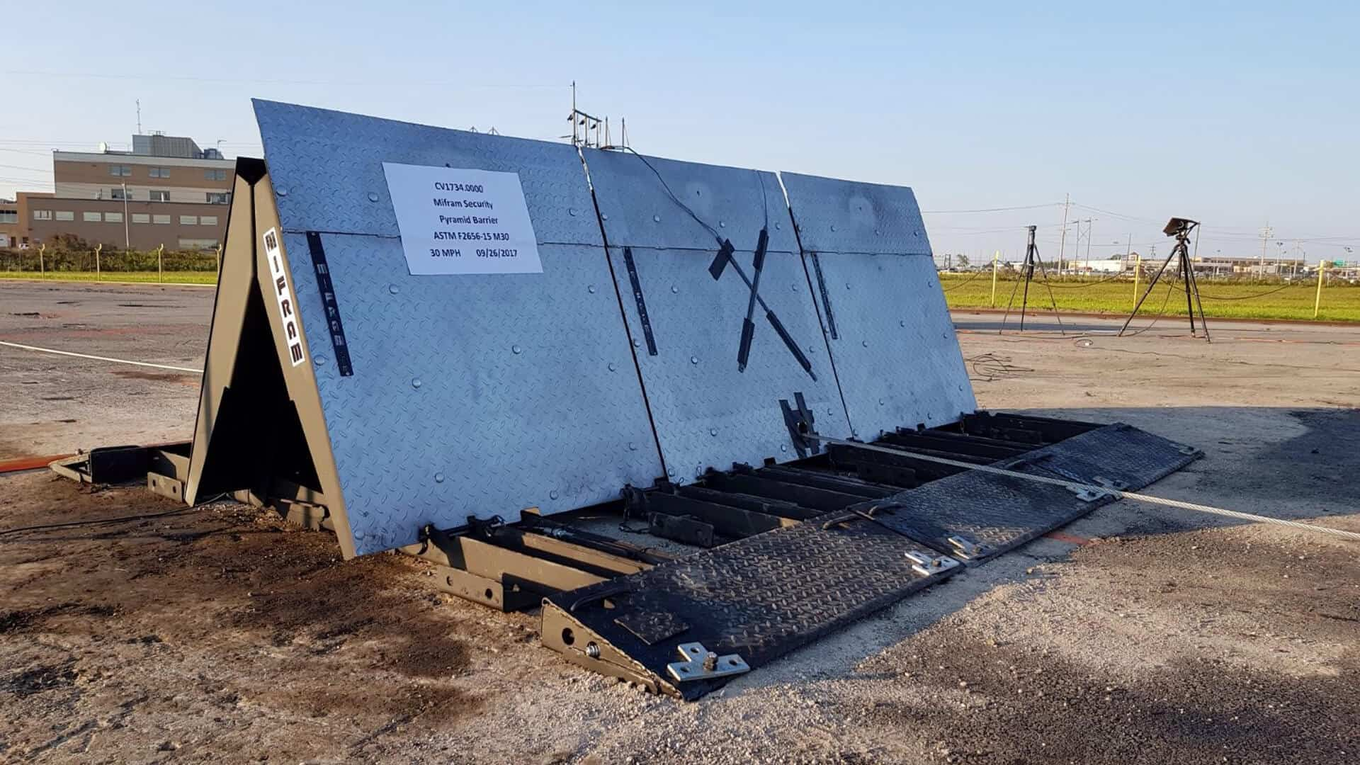 Pyramid vehicle barrier installed outside