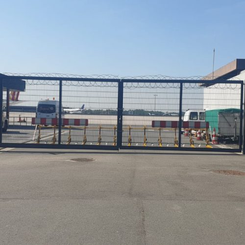 The vehicle barrier securing in front of a airport entrance gate