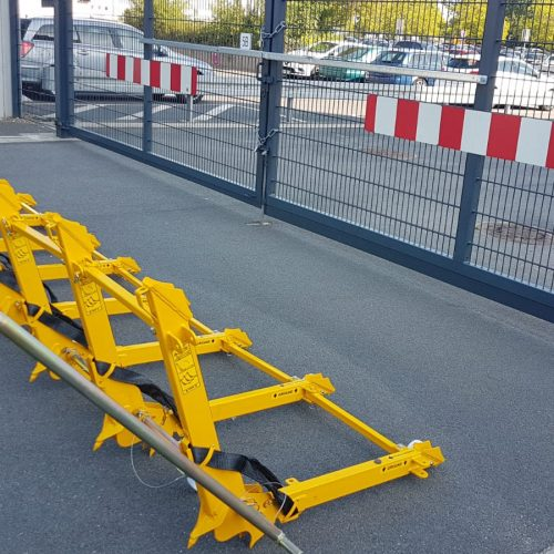 Vehicle barrier protecting a critical entrance gate in the airport