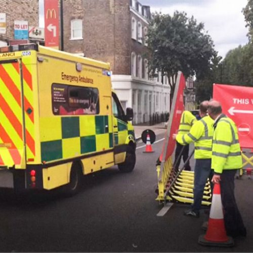 Using the barriers for ambulance protection during an event