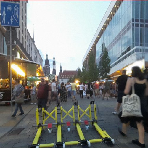 The barriers used to secure pedestrians and prevent unauthorized traffic around hotels