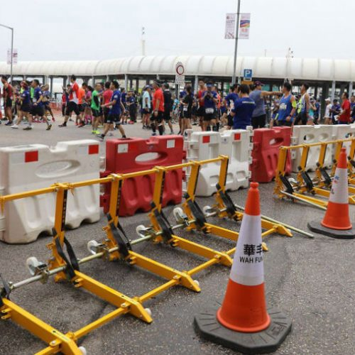 The Vehicle barrier securing a sport event