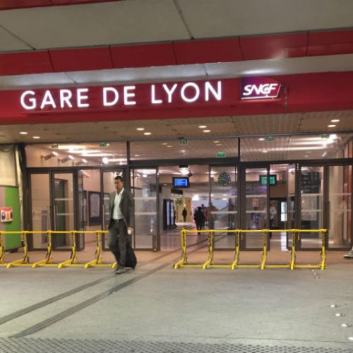 The barriers used to protect the entrance of the Gare De Lyon rail station
