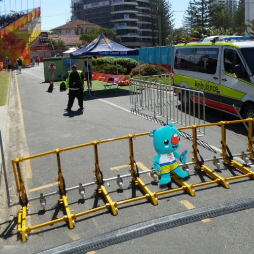 Vehicle barrier securing at the Gold Coast Commonwealth Games 2018