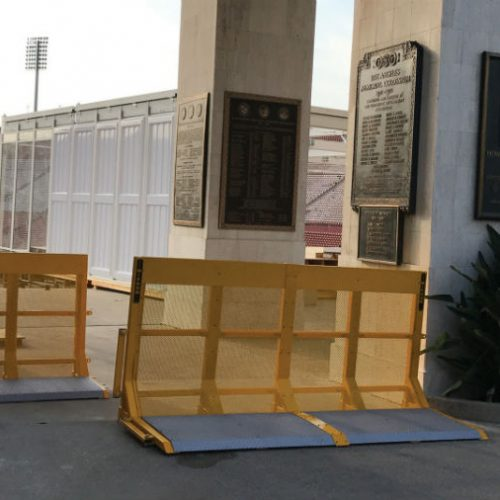 2 units of Carmen vehicle barrier securing the entrance
