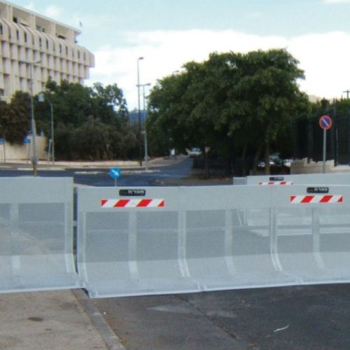 Carmen vehicle barrier blocks the way to an Israeli governmental establishment